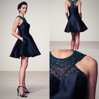 Black short homecoming dress cocktail, party, evening dress