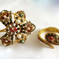 Multi Colored Rhinestones, Faux Pearls, Faux Cabochons in a Large, Curved Leaf Shaped Brooch and Matching Clamper Bracelet, Statement Brooch