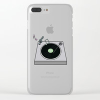 Record Player Clear iPhone Case by laurendangeloart