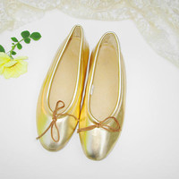 Metallic Gold Ballerina House Shoes Women Size 7W Vintage Ladies Flats Slip On Shoes w Tie Rubber Sole Shiny Gold w Soft Foam Insoles Mother
