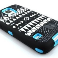 M-Zebra Hybrid Dual Layer Armor Defender Protective Case Combo for Samsung Galaxy S5 i9600 , with Screen Protectors+Stylus (Black)+Cleaning Cloth (Tribal Blue)