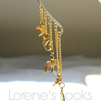Gold Bird/Ear Hanger/Boho/Womens/Earrings/Animal/Handmade/Dangle Ear Cuff
