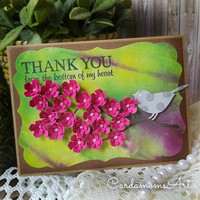 Tie Dye Background, Thank-you Handmade card, Handmade card Pink Flowers, Tie Dye, Thank-you, Thank you from the bottom of my heart