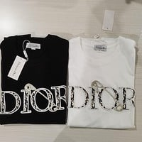 Dior summer new embroidered letters round neck short-sleeved T-shirt