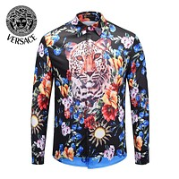 VERSACE Newest Fashionable Men Women Cool Print Long Sleeve Lapel Shirt Top