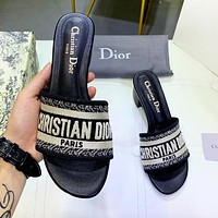 DIOR New fashion letter print slippers shoes women Black