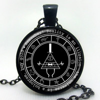3 Colors Gravity Falls Mysteries Logo Pendant Necklace Bill Cipher Wheel Art Handmade Silver Vintage Necklace Gift For Children