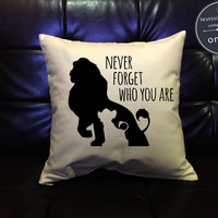 Lion king Throw Pillow cover,Never forget who you are Simba Pillow cover, lion king quotes, cotton canvas pillow cover