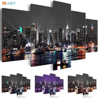 New York City Construction Scenery Print Canvas Art 5 Panel Night View Poster Landscape