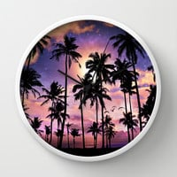 Smell the Sea Feel the Sky (Palm Tree Sunset) Wall Clock by Soaring Anchor Designs