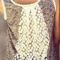 Hollow Out Lace Patchwork Tank Top