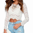 White Crochet Long Sleeve Cropped Top