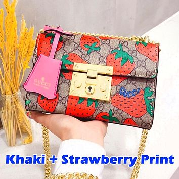 Alwayn GUCCI.Padlock series ladies Mickey Bag Strawberry Optional Khaki Red