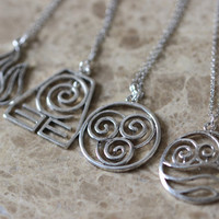4 Nations - antique silver Avatar the Last Airbender necklace N713A