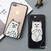 Funny Cartoon Cat Case For iphone 7 Case For iphone7 PLus 6 6S 5 5S Phone Cases Cute Grumpy Animal Middle Finger Back Cover Capa -0315