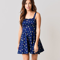 Navy Ice Cream Cone Fit N Flare Short Dress