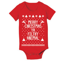 Merry CHRISTMAS Ya Filthy Animal - funny hip retro movie xmas ugly sweater contest party humorous new Infant - Baby Red ONE-PIECE DT0040