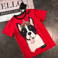 """Dolce & Gabbana"" Unisex Casual Cute Crown Dog Cartoon Print Couple Short Sleeve T-shirt Top Tee"