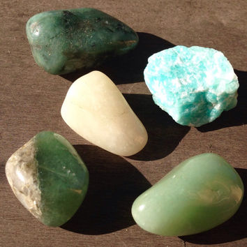 Wealth, Money, Love, Attraction Tumbled Crystal Set, 5 pcs, Healing Crystals, Rock Collection, Stones