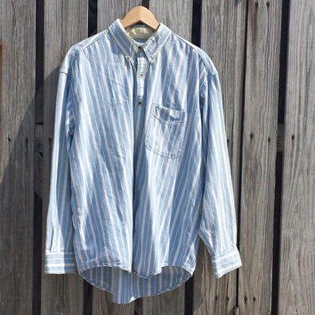 Vintage LL Bean Chambray Shirt - Stripes - Cotton - Made in CANADA - SZ L - Oversized