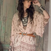 Beige Tribal Floral Print Flared Sleeve Cover-up