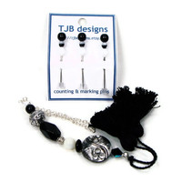 Tuxedo Beaded Scissor Fob, Cross Stitch, Needlepoint, Black, White, Silver, Gift for Crafter, TJBdesigns