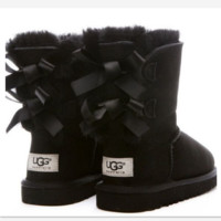 UGG:: bow leather boots boots in tubeb cute two bowknot Black