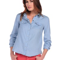 Romeo & Juliet Couture Beaded Chambray Buttondown