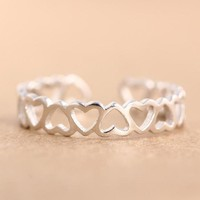 Real Pure 925 Sterling Silver Rings For Women Heart Toe Ring Adjustable Small Fresh Girls Party Opening Jewelry Anelli Donna