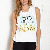FOREVER 21 Do It Today Muscle Tank White/Multi Large
