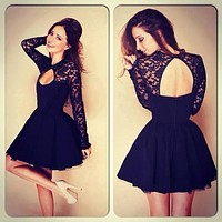 FASHION CUTE LACE DRESS BLACK