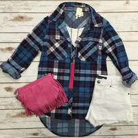 What I like about you Plaid Flannel Top: Blue/Pink