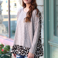 Ruffled Back Leopard Blouse {Mocha}