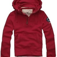 Hollister Mens Avalon Place Pullover Hoodie, Red (Small)
