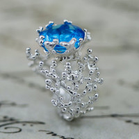Blue Topaz Ring,Statement Ring, silver Blue Topaz Ring, Gold Engagement Ring, Blue Topaz Ring,Blue Topaz promise Ring,unique Ring