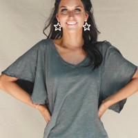 Open Wide Distressed Charcoal V-neck Top