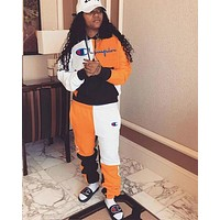 Champion Fashion Women Casual Stitching Color Long Sleeve Top Pants Set Two-Piece Sportswear Orange