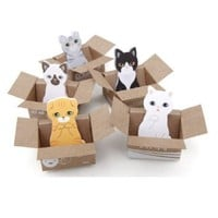 MiiSii(TM) 4 Packs Cute Cartoon Kawaii Animal Cats Dogs Post-it Self-Stick Memo Sticky Notes Pads (30 sheets each) + FREE GIFT (Cat)