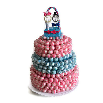 Lollipop Cake, Pink and Blue Lollicake with Topper, Lollicake, Edible Weddings, Wedding Cake, Cake Alternative, Unique Weddings, customize