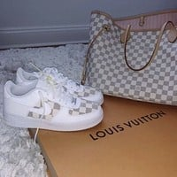 Nike WMNS Air Force 1 x Louis Vuitton LV hot sale men's and women's plaid print low-top casual sneakers White
