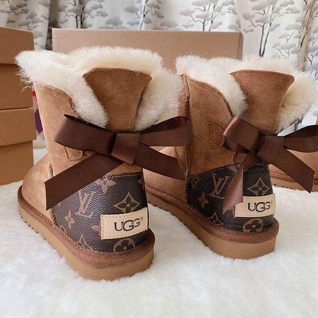 Image of UGG LV LouisVuitton Bow Boots Shoes Adult Child
