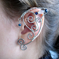 Pair of Silver Wire Elf Ear Cuffs with Sapphire Blue and Clear Swarovski Crystal Accents Renaissance, Elven Ears, Costume Earrings Ear Wraps