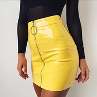 Wet Mini Zipper Skirt