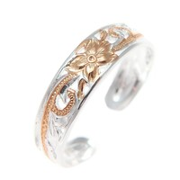 925 Silver Pink Rose Gold Hawaiian Plumeria Scroll 4mm Inside Cut Open Toe Ring