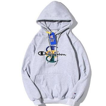 Champion Casual Fashion Embroidery Top Sweater Pullover Hoodie