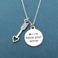 Follow your arrow, Silver, Necklace, Birthday, Best friends, Sister, Gift, Jewelry
