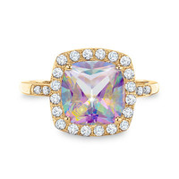 Lab-Created Mystic Fire® Topaz and White Sapphire Ring in 10K Gold with Diamond Accents - View All Rings - Zales