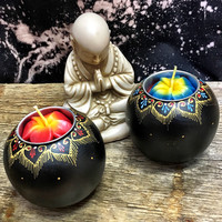 Hand Painted Wood Mango Tea Light