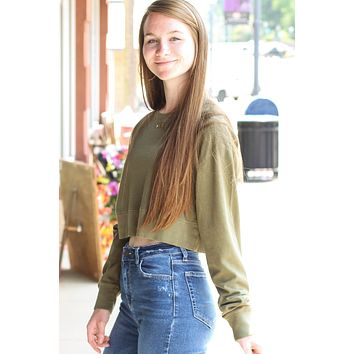 Olive Cropped Sweatshirt - Size MEDIUM
