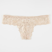 All Over Lace Thong Nude  In Sizes